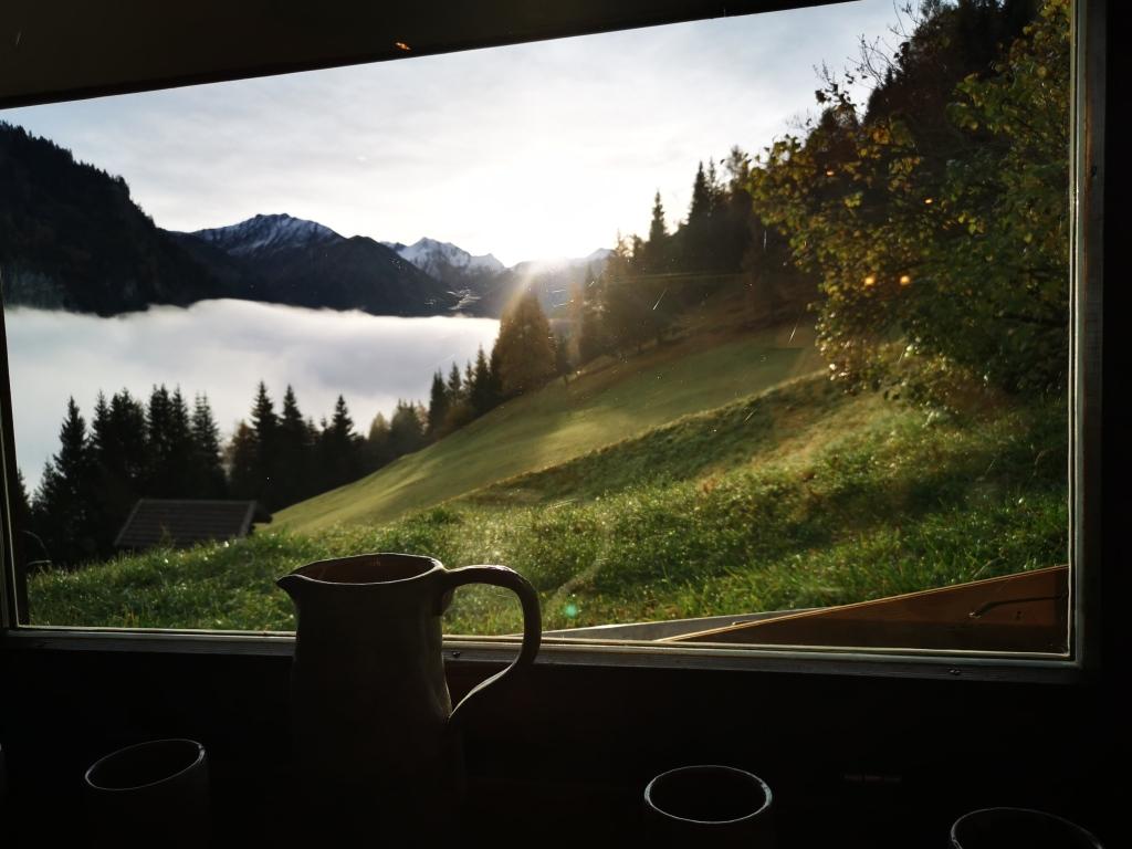 Ausblick vom Frühstückstisch in der Unterkunft